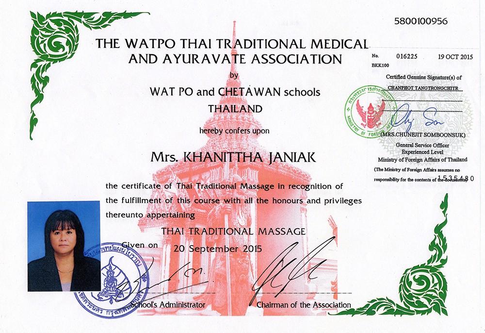Thai Smile - Kanita - Certyfikat