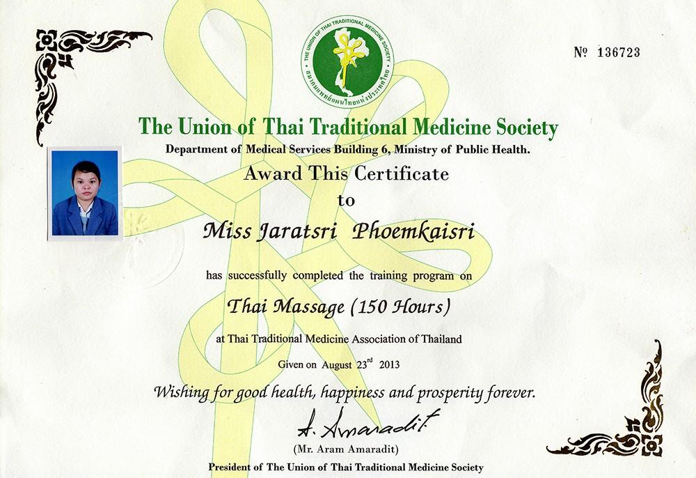 Thai Smile - Ying - Certyfikat