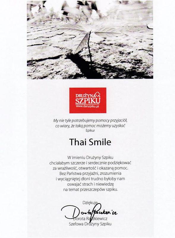 Działalność charytatywna Thai Smile 2017 Drużyna Szpiku - Podziękowania