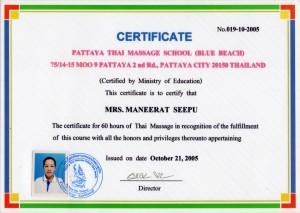 Thai Smile Maneerat Seepu Certyfikat